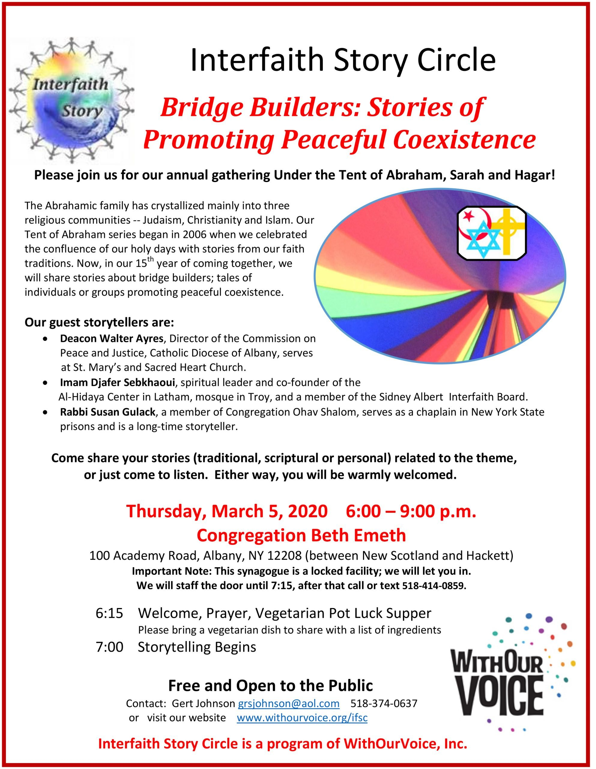 Bridge Builders: Stories of Promoting Peaceful Coexistence — Thursday, Mar. 5, 6:00 – 9:00 p.m.