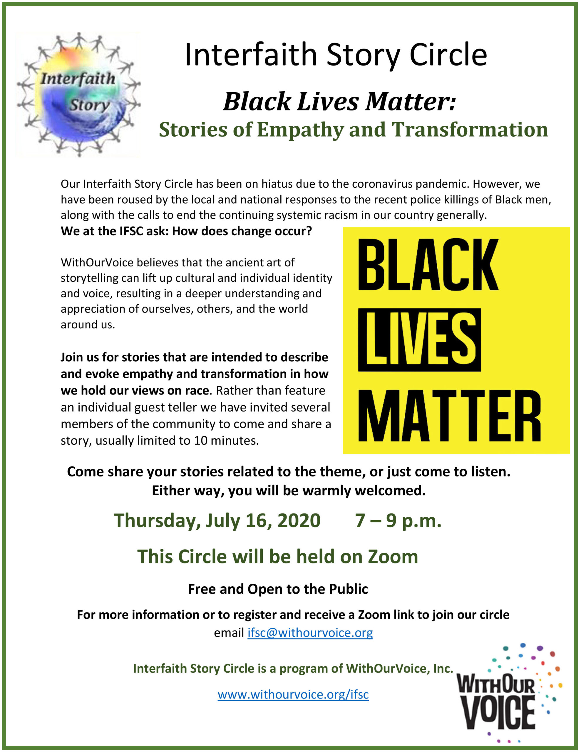 Black Lives Matter:    Stories of Empathy and Transformation  — Thursday, July 16, 7:00 – 9:00 p.m.