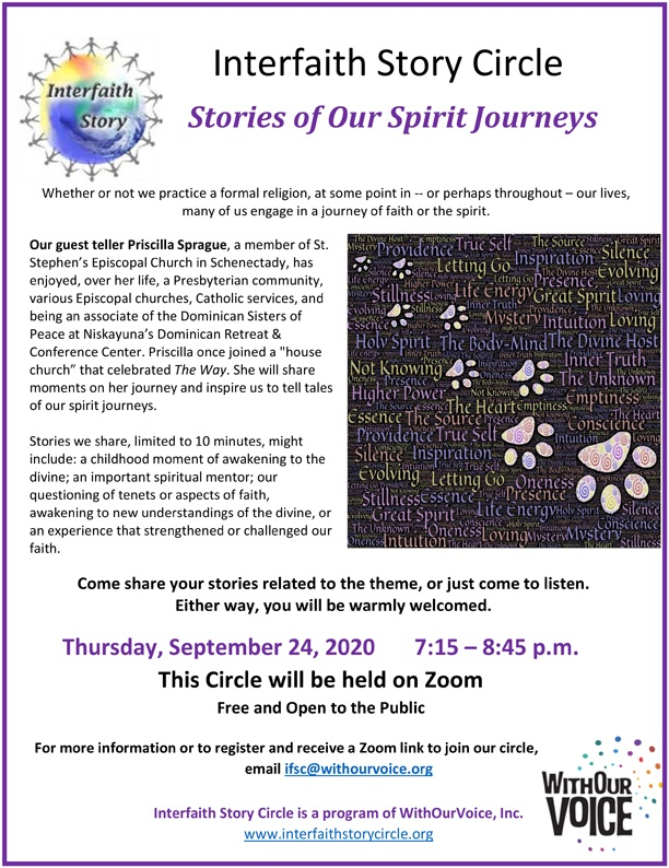 Stories of Our Spirit Journeys  — Thursday, September 24, 7:15 – 8:45 p.m.